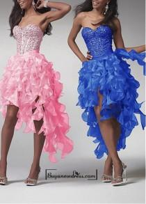 wedding photo - Amazing Satin & Organza A-line Strapless Sweetheart Beaded Bodice High Low Prom Dress With Ruffles