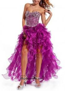 wedding photo - Amazing Satin & Organza A-line Strapless Sweetheart Neckline High Low Ruffled Prom Gown