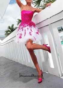 wedding photo - Amazing Satin & Tulle A-line Strapless Mini Length Homecoming Dress / Cocktail Dress