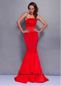 wedding photo - Amazing Satin Mermaid Strapless Neckline Raised Waistline Floor-length Prom Dress