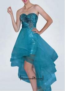 wedding photo - Amazing Sequin Lace & Charmeuse & Tulle A-line Strapless Sweetheart Neckline Hight-low Prom Dress