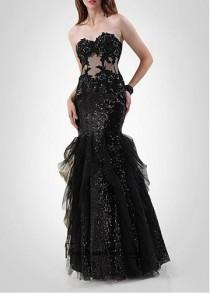 wedding photo - Amazing Sequin Lace & Tulle & Satin Mermaid Strapless Sweetheart Neckline Beaded Lace Appliques Prom Dress