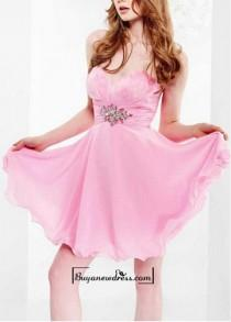 wedding photo - Adorable Chiffon A-line Strapless Sweetheart Feather Bust Short Sweet 16 Dress / Cocktail Dress