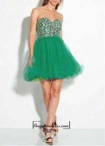 wedding photo - Adorable Satin & Tulle A-line Strapless Sweetheart Two Tone Layered Skirt Short Prom Dress