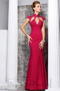 Silk Empire Column High Neck Long Cap Sleeve Prom Dress d1bf8fc9d