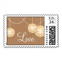 wedding photo - Burlap Party Lanterns Love Stamp