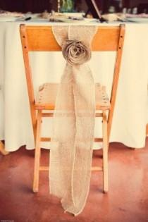wedding photo - Rustic Burlap Rosette Chair Sash.........Sets Of 25