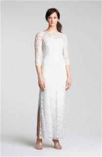 wedding photo - Kay Unger Embellished Illusion Neck Lace Gown