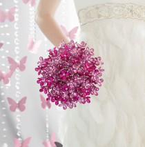 wedding photo - Bridal Bouquet Of Pink And Magenta Beaded Flower Bridal Bouquet - Wedding Bouquets - Fabulous Brooch Bouquet Alternative