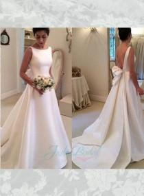 wedding photo - JOL239 simple bateau neck plain satin low back wedding bridal dress