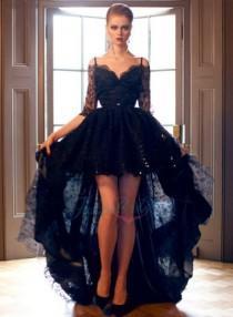 wedding photo - LJ14137 2015 black off shoulder half long sleeve high low lace prom evening dress