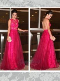 wedding photo - LJ14136 hot pink sheer back lace with tulle skirt long prom gown