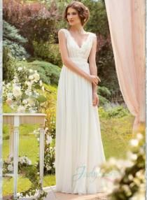 wedding photo - JOL226 Modest lace strappy v neck flowy chiffon wedding dress
