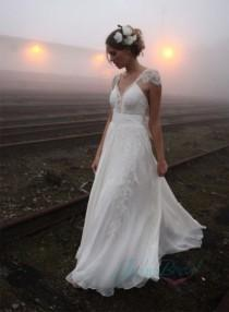 wedding photo - JOL224 Airy flare lace cap sleeves flowy chiffon boho wedding dress