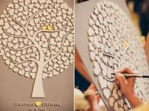 wedding photo - Custom Wedding Guest Book Alternative - 3D Wedding Tree Guest Book - Wood Rustic Wedding Guest Book - Tree Of Hearts - CUTIE POP 110 Hearts