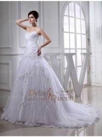 wedding photo - Trendy A-line Beading Chapel Train Tulle & Taffeta Wedding Dress with Applique