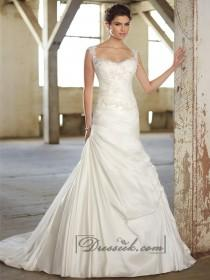 wedding photo - Cap Sleeves Lace Over Bodice A-line Wedding Dresses with Illusion Back