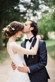 wedding photo - Black tie and pastel real wedding