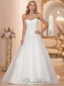 wedding photo - Strapless Sweetheart Embellished Lace Bodice A-line Wedding Dresses