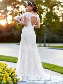 wedding photo - Lace Over Illusion Cap Sleeves V-neck Wedding Dresses with Keyhole Back