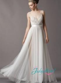 wedding photo - JC11055 romantic bohemian flowing lace tulle airy wedding dress