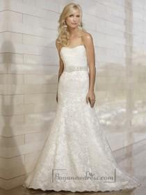 wedding photo - Stunning Strapless Mermaid Pleated Bodice Lace Appliques Skirt Wedding Dresses