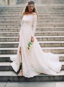 wedding photo - JOL250 Amazing all lace off shoulder long sleeves boho wedding dress