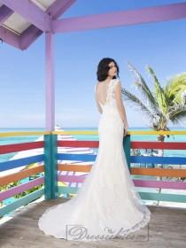 wedding photo - Two Piece Slim Lace And Tulle Overlay And Charmeuse Slip Wedding Gown