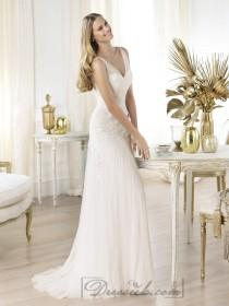 wedding photo - Elegant Semi-sheer Draped V-neck Lace Applique A-line Wedding Dresses