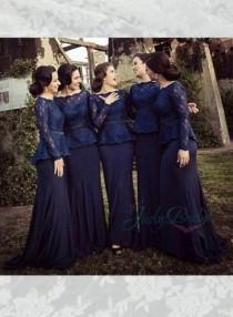 wedding photo - LJ14141 navy blue lace long sleeved chiffon mother of bride bridesmaid dress
