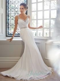 wedding photo - JW15067 sexy beading straps plunging open back chiffon sheath wedding dress