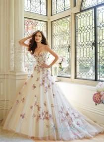 wedding photo - JW15066 unique ivory with burgundy red appliques ball gown wedding dress