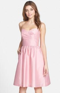 wedding photo - Alfred Sung Strapless Satin Fit & Flare Dress