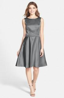 wedding photo - Dessy Collection Draped Back Satin Fit & Flare Dress