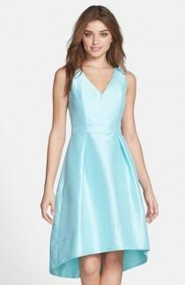 wedding photo - Alfred Sung Satin High/Low Fit & Flare Dress (Online Only)