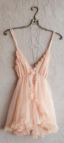 wedding photo - Romantic Paris Boudoir Peach Babydoll Lingerie With Tulle Ruffle Slip And Ribbon Rosette Detail Saved For Goddess