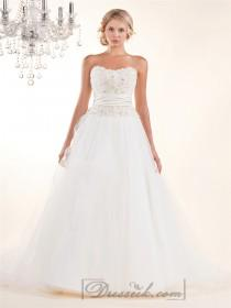 wedding photo - Strapless A-line Wedding Dresses with Rosette Swirled Embellishment Bodice