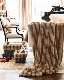 wedding photo - Faux-Mink Throw & Faux-Fur-Lined Baskets