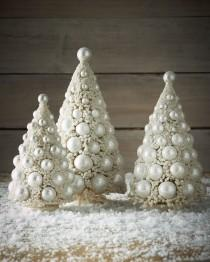 wedding photo - Bethany Lowe 				 			 		 		 	 	   				 				Three Ivory Bauble Trees