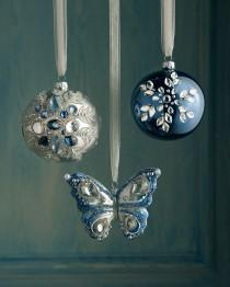 wedding photo - Blue Bejeweled Christmas Ornaments