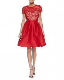 wedding photo - Monique Lhuillier				 		 	 	   				 				Floral-Lace & Gazar Fit-and-Flare Dress, Rouge