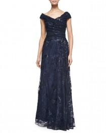wedding photo - Liancarlo          Off-the-Shoulder Metallic Lace Gown, Navy