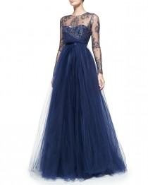 wedding photo - Notte by Marchesa       Long-Sleeve Illusion Full-Skirt Gown
