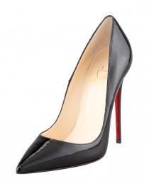 wedding photo - Christian Louboutin				 		 	 	   				 				So Kate Patent Leather Point-Toe Pump, Black