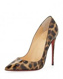 wedding photo - Christian Louboutin				 		 	 	   				 				So Kate Leopard-Print Patent Red Sole Pump