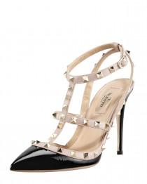 wedding photo - Valentino				 		 	 	   				 				Rockstud Patent Sandal, Black