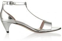 wedding photo - Miu Miu Metallic leather T-bar sandals