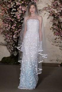 wedding photo - Oscar De La Renta - Spring 2012 - Strapless Silk Organza A-Line Wedding Dress With Scalloped Lace Details
