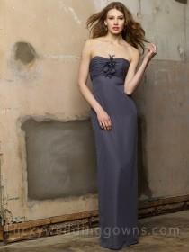 wedding photo - Pewter Crystal Chiffon Strapless Flower Long Column Dress