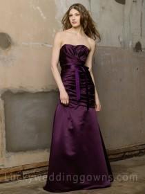 wedding photo - Plum Satin Strapless Long Bridesmaid Dress
